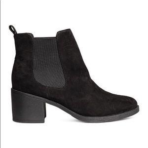 H&M Black Booties Faux Suede